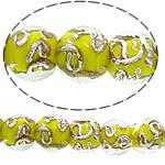 Sand Gold \x26amp; Silver Lampwork petë, Round, asnjë, rërë ari dhe argjendi me letër varaku, i verdhë, 12mm, : 3mm, : 11Inç, 10Fillesat/Shumë,  Shumë
