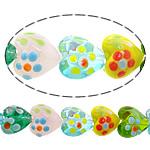Beads Lampwork me gunga, Zemër, asnjë, asnjë, ngjyra të përziera, 15x15x11mm, : 2mm, : 9.5Inç, 5Fillesat/Shumë,  Shumë