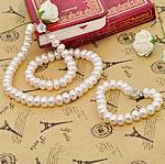 Natyrore kulturuar Pearl ujërave të ëmbla bizhuteri Sets, Pearl kulturuar ujërave të ëmbla, Round Flat, Platinum kromuar, e bardhë, 9-10mm, : 17Inç,  I vendosur
