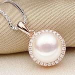 925 Sterling Silver gjerdan perlash, Pearl kulturuar ujërave të ëmbla, with Diamant i rremë, Round Flat, reale u rrit ari praruar, e bardhë, 8-9mm, : 17.5Inç,  17.5Inç,