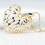 Zinklegierung Pullover Halskette, mit Kristall, Herz, goldfarben plattiert, frei von Nickel, Blei & Kadmium, 35x45mm, verkauft per 31.5 ZollInch Strang