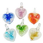 Pendants Inner Lampwork Lule, Zemër, punuar me dorë, lule e brendshme, ngjyra të përziera, 22x21x12mm, : 4x5.5mm, 12PC/Kuti,  Kuti