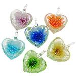 Pendants Inner Lampwork Lule, Zemër, punuar me dorë, lule e brendshme, ngjyra të përziera, 31.5x28x15mm, : 6.5x7mm, 12PC/Kuti,  Kuti