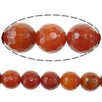 Beads Kuq Natyrore agat, Red agat, Round, asnjë, faceted, 16mm, : 2mm, :16Inç, 5Fillesat/Shumë,  Shumë