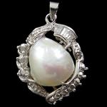 Pendants Pearl ujërave të ëmbla, Pearl kulturuar ujërave të ëmbla, Zemër, natyror, e bardhë, 21x31.50x11mm, : 3x5mm,  PC