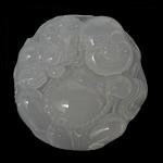 Grey varëse agat, Grey agat, Round Flat, Gdhendur, të vetme të njëanshme, 44x44x11mm, : 1.5mm, 3PC/Shumë,  Shumë