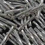 Japanische Glas-Rocailles, verbogener Bugle, Silbereinzug, weiß, 2x9-10mm, Bohrung:ca. 1mm, ca. 9000PCs/Tasche, verkauft von Tasche