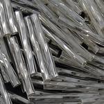 Glass Beads Japanese Seed, Seed Glass Beads, Bugle Twisted, argjend-rreshtuan, asnjë, e bardhë, 2x16mm, : 1mm, 7500PC/Qese,  Qese