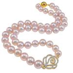 925 Sterling Silver gjerdan perlash, Pearl kulturuar ujërave të ëmbla, with Kub kub, Round, natyror, vjollcë, AAA, 9-10mm, :18Inç,  18Inç,