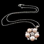Ujërave të ëmbla Pearl gjerdan Zinxhiri tunxh, Pearl kulturuar ujërave të ëmbla, with Diamant i rremë & Tunxh, Round Flat, natyror, rozë, 8-9mm, 23x26x9mm, :16.5Inç,  16.5Inç,