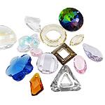 Crystal Pendants, Kristal, Shape përziera, asnjë, i përzier, ngjyra të përziera, 12-30mm, : 1.5-17mm, 100PC/Qese,  Qese