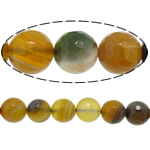 Agat Beads, Agat Kafe, Round, asnjë, faceted & shirit, 14mm, : 1.5mm, :15Inç, 5Fillesat/Shumë,  Shumë