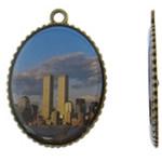 Pendants Decal aliazh zink, Alloy zink, Oval, Ngjyra antike bronz i praruar, asnjë, asnjë, , nikel çojë \x26amp; kadmium falas, 35.50x50x3mm, : 3.5mm, 50PC/Qese,  Qese