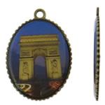 Pendants Decal aliazh zink, Oval, Ngjyra antike bronz i praruar, asnjë, asnjë, , nikel çojë \x26amp; kadmium falas, 35x49.50x3mm, : 3.5mm, 50PC/Qese,  Qese
