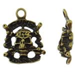 Pendants Skull Alloy zink, Kafkë, Ngjyra antike bronz i praruar, asnjë, asnjë, , nikel çojë \x26amp; kadmium falas, 17.50x23x5mm, : 2.5mm, 50PC/Qese,  Qese