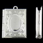 Varëse medalion Zink Alloy, Alloy zink, Drejtkëndësh, Ngjyra argjend praruar, asnjë, asnjë, , nikel çojë \x26amp; kadmium falas, 19x26x4.50mm, : 1.5mm, 50PC/Qese,  Qese