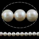 Round Beads kulturuar Pearl ujërave të ëmbla, Pearl kulturuar ujërave të ëmbla, natyror, e bardhë, AA, 9-10mm, : 0.8mm, : 15Inç,  15Inç,