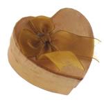 Karton Set bizhuteri Box, Zemër, asnjë, bojë e verdheme, 74x68x31mm, 24PC/Qese,  Qese