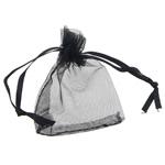 Drawstring çanta bizhuteri, Organza, asnjë, i tejdukshëm, e zezë, 52x67x0.20mm, 1000PC/Qese,  Qese