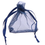 Drawstring çanta bizhuteri, Organza, asnjë, i tejdukshëm, blu të errët, 52x67x0.20mm, 1000PC/Qese,  Qese