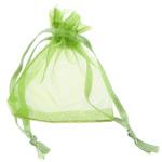 Drawstring çanta bizhuteri, Organza, asnjë, i tejdukshëm, e gjelbër, 52x67x0.20mm, 1000PC/Qese,  Qese