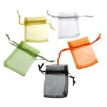 Drawstring çanta bizhuteri, Organza, asnjë, i tejdukshëm, ngjyra të përziera, 52x67x0.20mm, 1000PC/Qese,  Qese