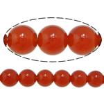 Beads Kuq Natyrore agat, Round, asnjë, asnjë, AA, 14mm, : 1.5mm, :15Inç, 5Fillesat/Shumë,  Shumë