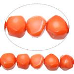 Beads Natyrore Coral, Coral Natyrore, Nuggets, i lyer, kuq pak portokalli, 9-13x10-12x9-12mm, : 1mm, : 17Inç, 10Fillesat/Shumë,  Shumë