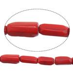 Beads Natyrore Coral, Coral Natyrore, Tub, i lyer, i kuq, 7-11x25-18mm, : 1.5mm, :16Inç, 10Fillesat/Shumë,  Shumë