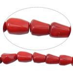 Beads Natyrore Coral, Coral Natyrore, Nuggets, i lyer, i kuq, 10-13x14-20mm, : 1.5mm, :16Inç, 10Fillesat/Shumë,  Shumë
