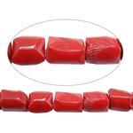Beads Natyrore Coral, Coral Natyrore, Nuggets, i lyer, i kuq, 10-13x12-16mm, : 1.2mm, :16.5Inç, 10Fillesat/Shumë,  Shumë