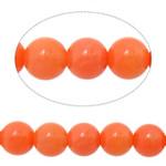 Beads Natyrore Coral, Coral Natyrore, Round, i lyer, kuq pak portokalli, 4mm, : 0.8mm, :16Inç, 10Fillesat/Shumë,  Shumë
