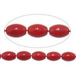 Beads Natyrore Coral, Coral Natyrore, Oval, i lyer, i kuq, 7x10mm, : 1mm, :16.7Inç, 10Fillesat/Shumë,  Shumë