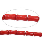 Beads Natyrore Coral, Coral Natyrore, Bambu, i lyer, i kuq, 5x9mm, : 1mm, :16Inç, 10Fillesat/Shumë,  Shumë