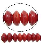 Beads Natyrore Coral, Coral Natyrore, Rondelle, i lyer, i kuq, 6x3mm, : 1mm, :16Inç, 10Fillesat/Shumë,  Shumë