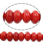 Beads Natyrore Coral, Coral Natyrore, Rondelle, i lyer, i kuq, 6x4mm, : 1mm, :17Inç, 10Fillesat/Shumë,  Shumë