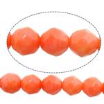 Beads Natyrore Coral, Oval, kuq pak portokalli, 6mm, : 1mm, :16Inç, 10Fillesat/Shumë,  Shumë