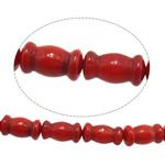 Beads Natyrore Coral, Coral Natyrore, Bambu, i lyer, i kuq, 6x10mm, : 1mm, :16Inç, 10Fillesat/Shumë,  Shumë