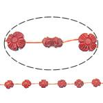 Beads Natyrore Coral, Coral Natyrore, Lule, Gdhendur, i kuq, 10x10x4mm, : 0.5mm, :16Inç, 10Fillesat/Shumë,  Shumë