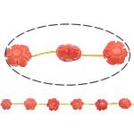 Beads Natyrore Coral, Coral Natyrore, Lule, Gdhendur, i kuq, 10x10x6mm, : 0.5mm, :15.5Inç, 10Fillesat/Shumë,  Shumë