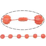 Beads Natyrore Coral, Coral Natyrore, Flutur, Gdhendur, lotus kuqe, 12x12x5mm, : 0.5mm, :16Inç, 10Fillesat/Shumë,  Shumë