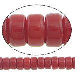 Beads Natyrore Coral, Coral Natyrore, Rondelle, i lyer, i kuq, 4x2mm, : 0.5mm, :16Inç, 10Fillesat/Shumë,  Shumë