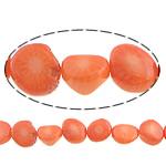 Beads Natyrore Coral, Coral Natyrore, Nuggets, i lyer, portokall, 9x6mm, : 0.5mm, :16Inç, 10Fillesat/Shumë,  Shumë
