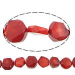 Beads Natyrore Coral, Coral Natyrore, Nuggets, i lyer, i kuq, 16-18x16-18x10mm, : 1mm, :16Inç, 10Fillesat/Shumë,  Shumë