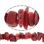 Beads Natyrore Coral, Coral Natyrore, Nuggets, i lyer, i kuq, 8-13mm, : 0.5mm, :33Inç, 10Fillesat/Shumë,  Shumë