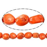 Beads Natyrore Coral, Coral Natyrore, Nuggets, i lyer, portokall, 23x10mm, : 1.5mm, :17Inç, 10Fillesat/Shumë,  Shumë