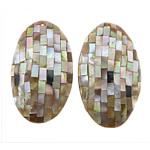 Pendants Natyrore Shell Mozaiku, Oval Flat, asnjë, asnjë, asnjë, 40-38x69-66x9mm, : 3mm, 5PC/Shumë,  Shumë