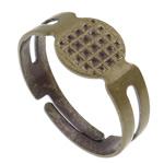 Alloy zink Finger Ring Setting, Shape Tjera, Ngjyra antike bronz i praruar, asnjë, asnjë, , nikel çojë \x26amp; kadmium falas, 18x17x8mm, : 1mm, :6.5, 500PC/Qese,  Qese