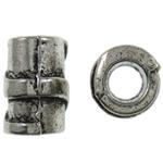 Beads Zink Alloy Tube, Alloy zink, Ngjyra antike argjendi praruar, vrimë e madhe, asnjë, , nikel çojë \x26amp; kadmium falas, 7x10mm, : 4mm, 830PC/KG,  KG