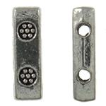 Zink Alloy Spacer Bar, Alloy zink, Drejtkëndësh, Ngjyra antike argjendi praruar, 2-fije floku, asnjë, , nikel çojë \x26amp; kadmium falas, 3x10x2.50mm, : 1mm, 2500PC/KG,  KG